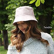 Аксессуары handmade. Livemaster - original item Women`s leather hat pink powder Panama hat natur leather. Handmade.
