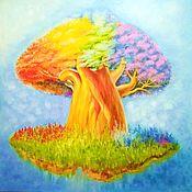 Картины ручной работы. Ярмарка Мастеров - ручная работа Картина Волшебное дерево, радужный баобаб, маслом на холсте. Handmade.
