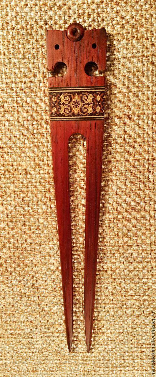 Заколки ручной работы. Ярмарка Мастеров - ручная работа. Купить Шпилька Славянская, красное эбеновое дерево. Handmade. Шпилька для волос