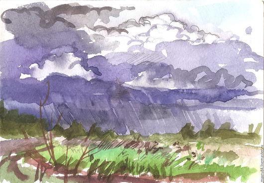 Пейзаж ручной работы. Ярмарка Мастеров - ручная работа. Купить Акварель. Весенний дождь. Handmade. Фиолетовый, небольшая картина, май