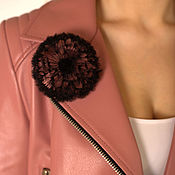 Украшения handmade. Livemaster - original item brooch Boutonniere Dandelion black silk diameter 9 cm. Handmade.