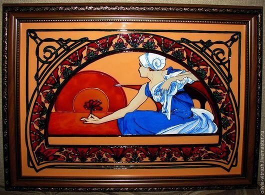 Витражная картина `Водяная лилия` по мотивам работ А.Мухи