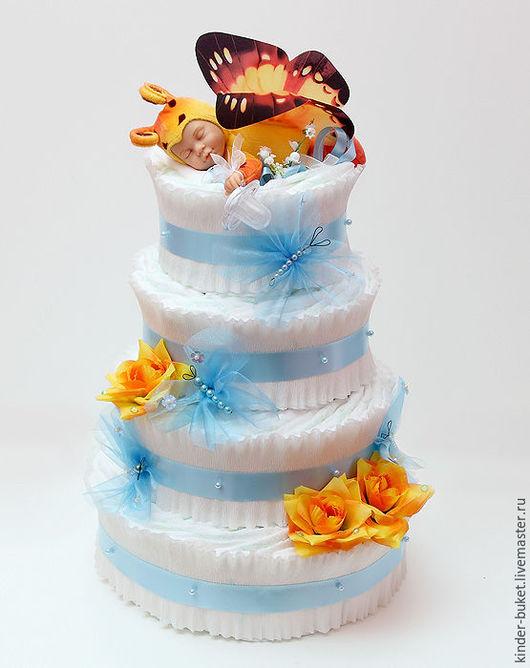 """Подарки для новорожденных, ручной работы. Ярмарка Мастеров - ручная работа. Купить Торт из памперсов """"Летний сон"""". Handmade. Желтый, торт"""