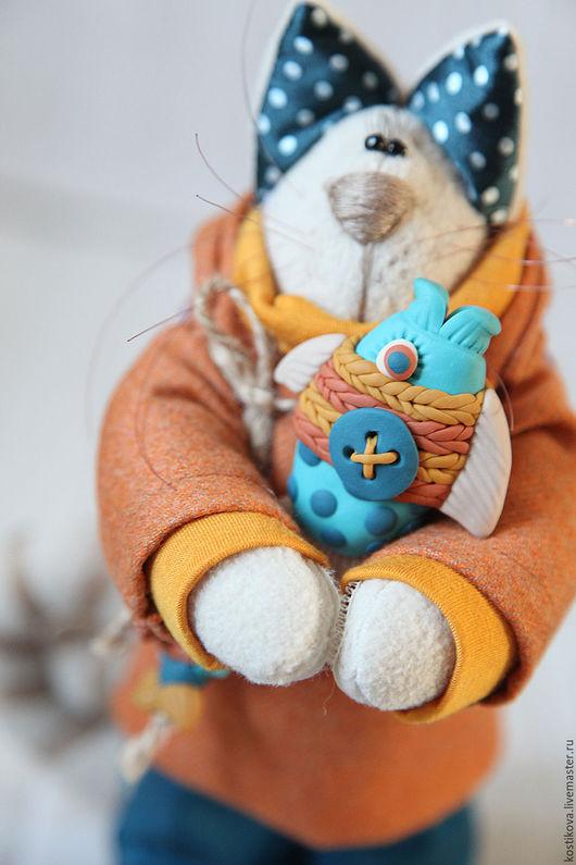 Игрушки животные, ручной работы. Ярмарка Мастеров - ручная работа. Купить Коты. Рыжий котик с рыбкой.. Handmade. Оранжевый