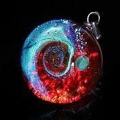 Украшения handmade. Livemaster - original item Pendant ball Turquoise and red. Cosmos Galaxy Universe Planet Space. Handmade.