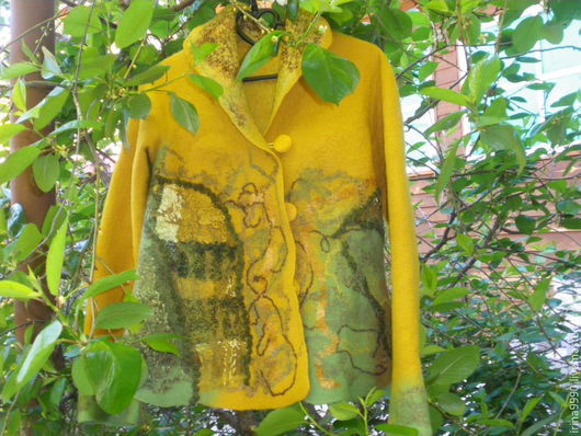 Пиджаки, жакеты ручной работы. Ярмарка Мастеров - ручная работа. Купить Жакет. Handmade. Золотой, вискоза, шерсть мериноса