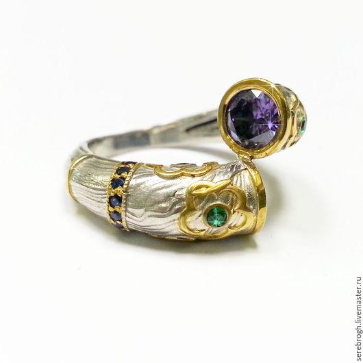 """Кольца ручной работы. Ярмарка Мастеров - ручная работа. Купить Серебряное шикарное кольцо """"Закат"""". Handmade. Синий, серебряное кольцо"""
