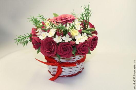"""Цветы ручной работы. Ярмарка Мастеров - ручная работа. Купить Цветочная композиция """"Роза"""". Handmade. Полимерная глина, deco, красота"""