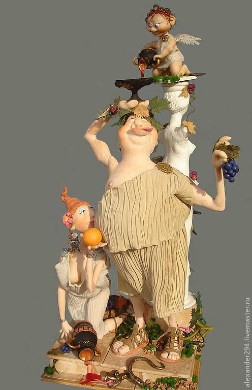 Коллекционные куклы ручной работы. Ярмарка Мастеров - ручная работа. Купить Вакх. Handmade. Авторская кукла, вино, картон