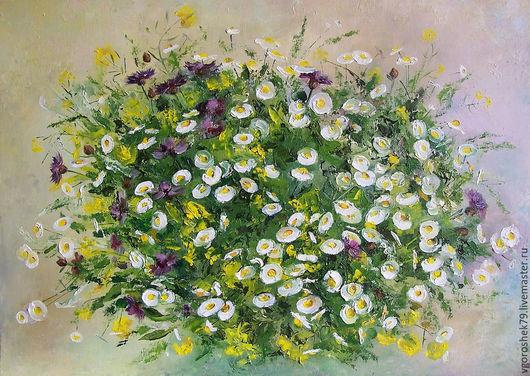 Картины цветов ручной работы. Ярмарка Мастеров - ручная работа. Купить Полевые цветы. Handmade. Желтый, ромашки, холст