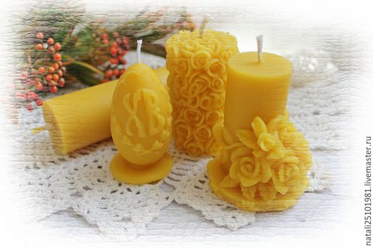 Свечи ручной работы. Ярмарка Мастеров - ручная работа. Купить Свечи из натурального воска в ассортименте. Handmade. Желтый, пасхальный подарок
