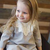 Работы для детей, ручной работы. Ярмарка Мастеров - ручная работа Серое детское платье с кружевной вставкой, весеннее, летнее. Handmade.