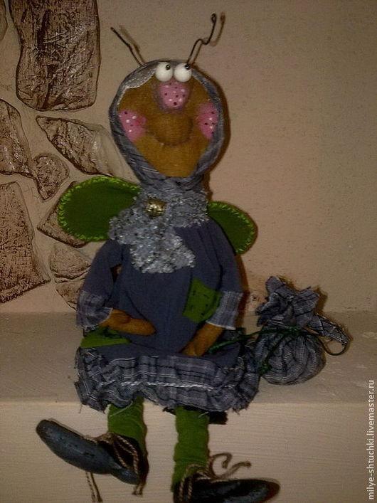 Куклы и игрушки ручной работы. Ярмарка Мастеров - ручная работа. Купить Муха Глафира. Handmade. Темно-серый, улыбка