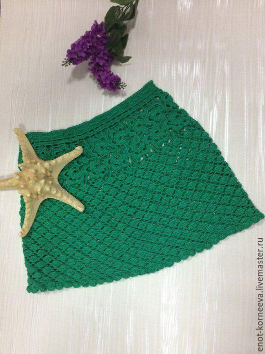 """Юбки ручной работы. Ярмарка Мастеров - ручная работа. Купить Юбка вязаная крючком """"Изумруд"""". Handmade. Зеленый, юбка"""