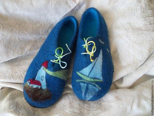 """Обувь ручной работы. Ярмарка Мастеров - ручная работа. Купить Тапочки войлочные """"На свет маяка. Handmade. Тёмно-синий"""