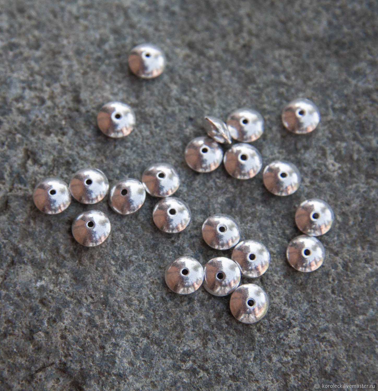 Плоские серебряные бусины 6 мм ручной работы, Бусины, Москва,  Фото №1
