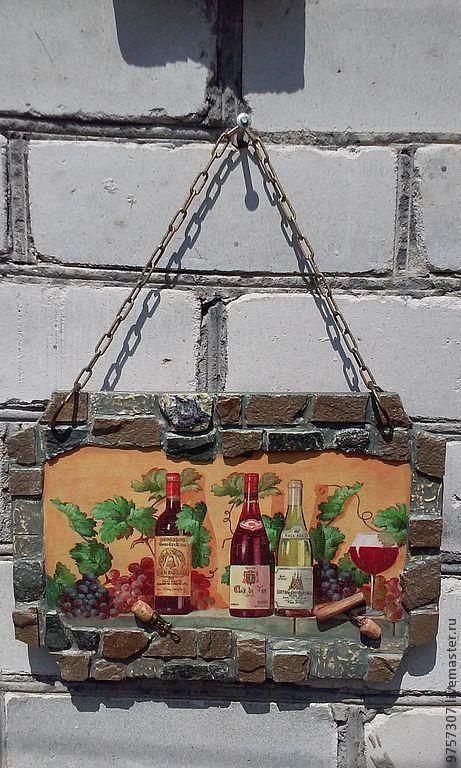 """Натюрморт ручной работы. Ярмарка Мастеров - ручная работа. Купить Панно """"Вино и виноград"""". Handmade. Панно, виноград, вино и виноград"""