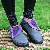Обувь ручной работы handmade. Livemaster - original item Boots loafers Low suede Grey violet. Handmade.
