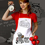 Для дома и интерьера handmade. Livemaster - original item Cook`s apron with a raccoon, a cool apron for a mother, daughter or girl. Handmade.