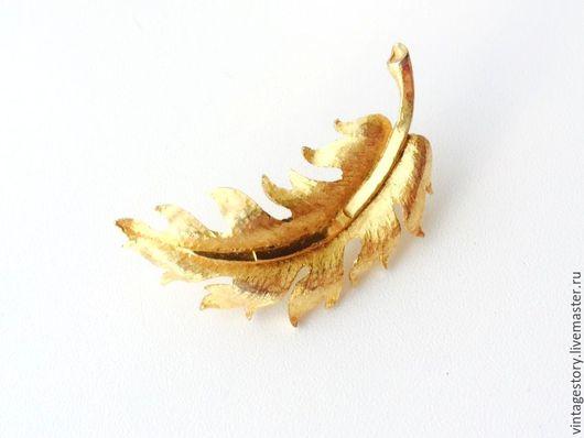 """Винтажные украшения. Ярмарка Мастеров - ручная работа. Купить Mamselle Винтажная брошь """"Золотое перо"""" США. Handmade. Винтаж"""