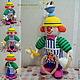 """Человечки ручной работы. Ярмарка Мастеров - ручная работа. Купить """"Клоун Повар"""" вязаная игрушка. Handmade. Вязаная игрушка, сосиски"""