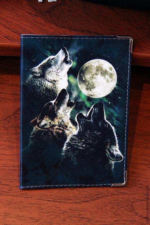 """Обложки ручной работы. Ярмарка Мастеров - ручная работа. Купить обложка """"Волчий вой"""". Handmade. Натуральная кожа, кожаная обложка"""