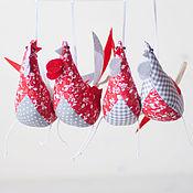 """Подарки к праздникам ручной работы. Ярмарка Мастеров - ручная работа """"Петух"""" елочная игрушка - символ года  Красно-серый набор. Handmade."""