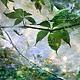 Фото картина природа для интерьера в зеленых и голубых тонах. «Летний дождь» - Елена Ануфриева