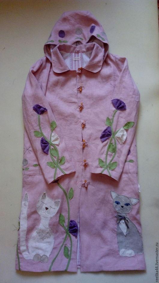 """Верхняя одежда ручной работы. Ярмарка Мастеров - ручная работа. Купить Плащ изо льна """" Коты и цветы"""". Handmade."""