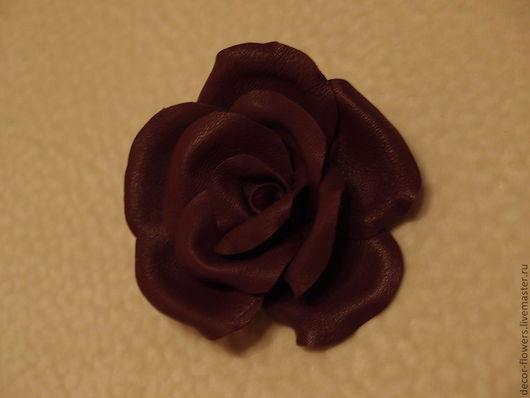 """Заколки ручной работы. Ярмарка Мастеров - ручная работа. Купить Роза из кожи """"Фиолет"""". Handmade. Тёмно-фиолетовый, брошь кожа"""
