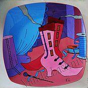 """Подарки к праздникам ручной работы. Ярмарка Мастеров - ручная работа Декоративна тарелка""""Розовые сапожки"""". Handmade."""