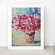 Картины цветов ручной работы. Ранункулюсы в вазе. K&ART. Интернет-магазин Ярмарка Мастеров. Розовый, картина в подарок, бирюзовый