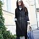 R00034 Пальто теплое пальто из шерсти шерстяное пальто женское пальто черное пальто стильное пальто длинное осеннее пальто кардиган из шерсти красивое пальто городской деловой стиль