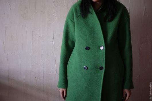 Верхняя одежда ручной работы. Ярмарка Мастеров - ручная работа. Купить Пальто букле утепленное. Handmade. Зеленый, пальто на подкладе