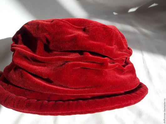 Винтажная одежда и аксессуары. Ярмарка Мастеров - ручная работа. Купить Шляпка. Винтаж. Бархат. Handmade. Ярко-красный, бархат