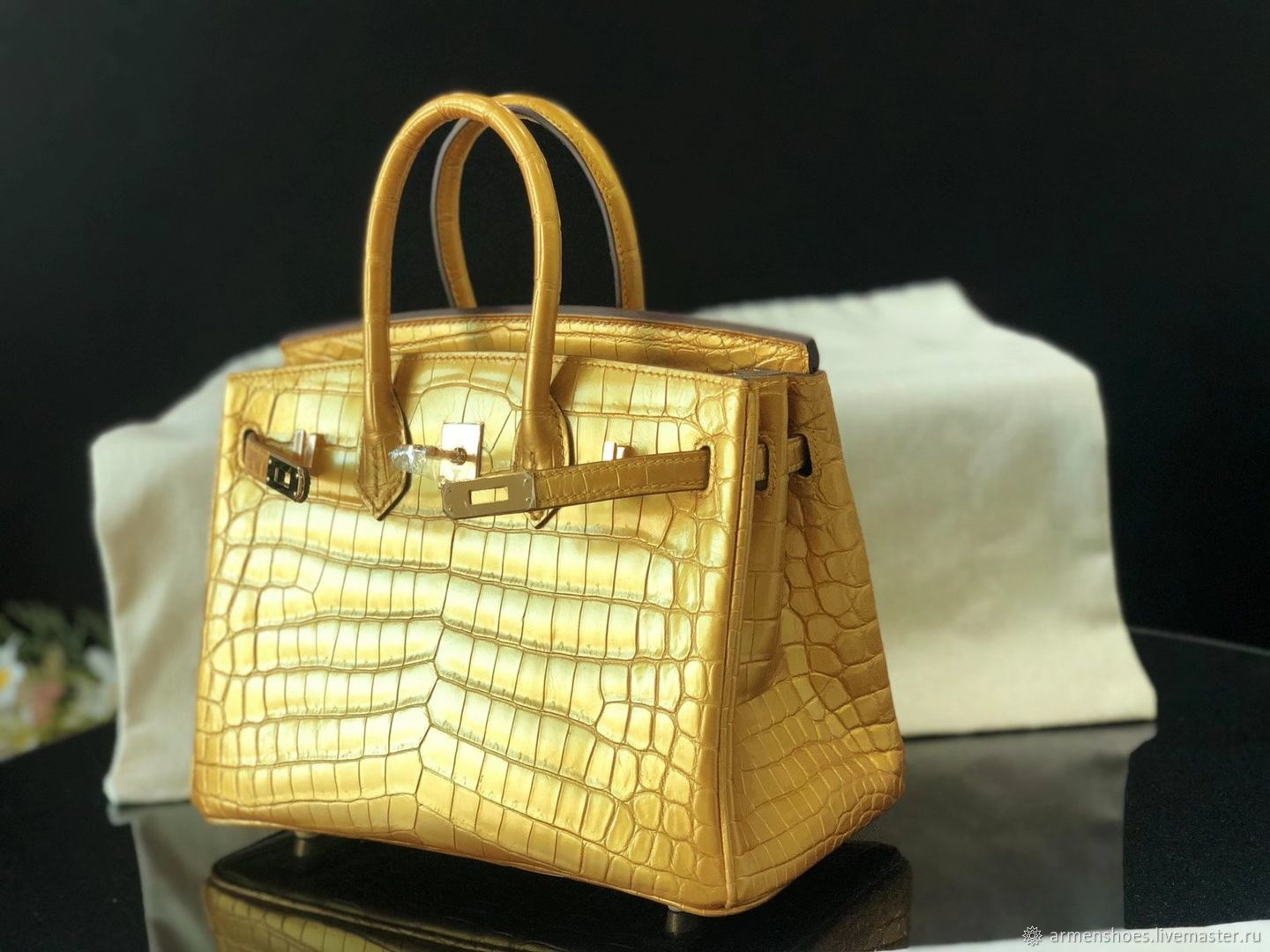 Classic crocodile leather bag, in 'gold' color, Classic Bag, Tosno,  Фото №1