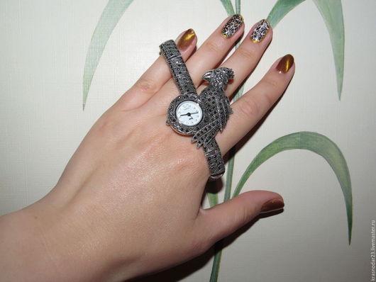 Часы ручной работы. Ярмарка Мастеров - ручная работа. Купить Стильные красивые часы из серебра 925 пробы с марказитом. Handmade.