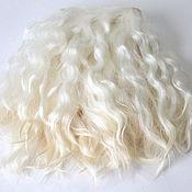 Материалы для творчества handmade. Livemaster - original item Mohair tress (on the skin of a goat, white) Curls Curls for dolls. Handmade.