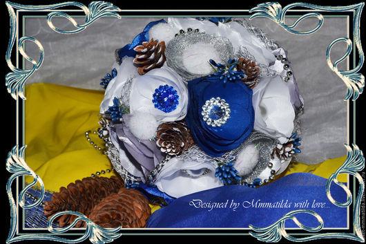 """Свадебные цветы ручной работы. Ярмарка Мастеров - ручная работа. Купить Букет невесты """"Зимняя сказка"""". Handmade. Синий"""