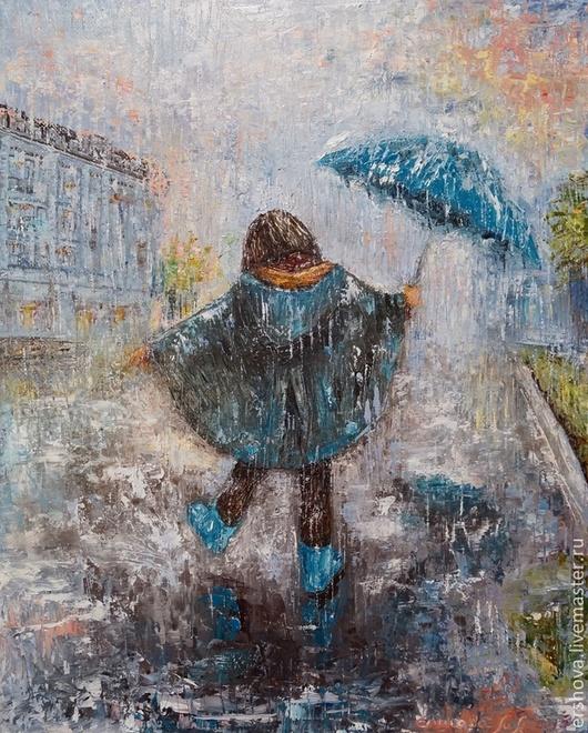 Люди, ручной работы. Ярмарка Мастеров - ручная работа. Купить Картина. А сапожки к зонтику. Масло, холст, 40х50. Handmade.