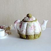 Посуда ручной работы. Ярмарка Мастеров - ручная работа Тестильный чайник. Чайник из ткани. Декоративный чайник. Чашка из ткан. Handmade.