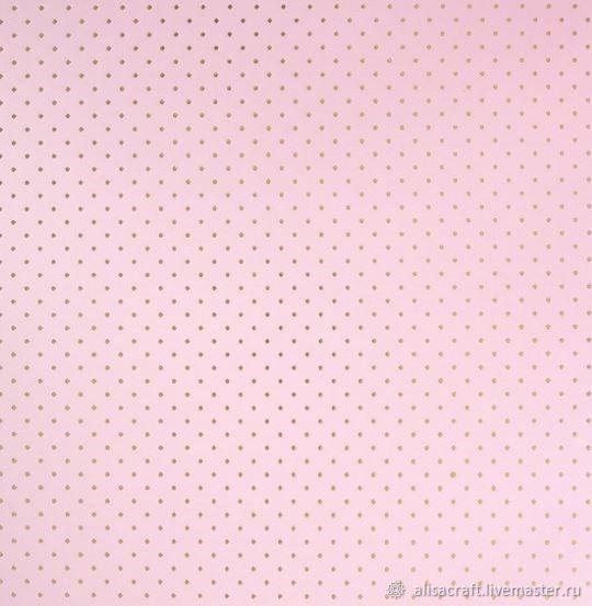 """Розовая бумага с золотым фольгированием """"Точки"""", 30х30 см, Бумага, Москва,  Фото №1"""