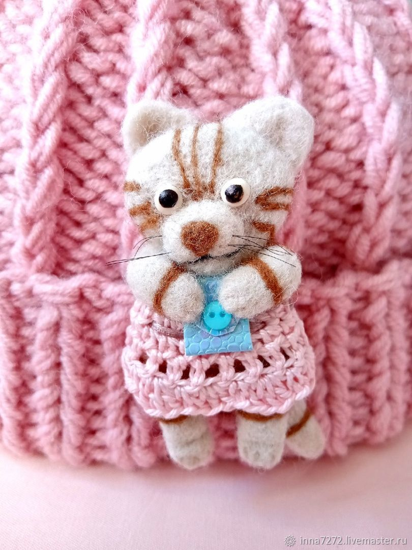 Brooch-pin: cat made of wool, Brooches, Dimitrovgrad,  Фото №1