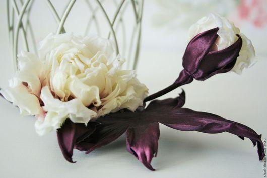 """Заколки ручной работы. Ярмарка Мастеров - ручная работа. Купить Шелковая роза """"Juliette"""".Шелковые цветы, цветы из шелка,цветы из ткани. Handmade."""