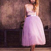 Одежда ручной работы. Ярмарка Мастеров - ручная работа Лавандовая юбка пачка из фатина 75 см. Handmade.