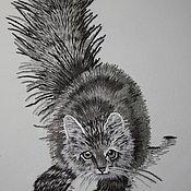 Картины и панно ручной работы. Ярмарка Мастеров - ручная работа Вышитый кот. Handmade.