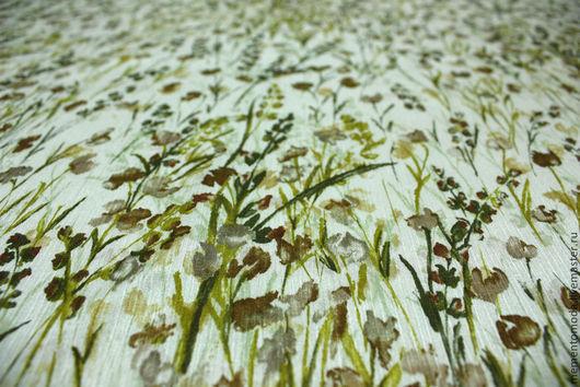 """Шитье ручной работы. Ярмарка Мастеров - ручная работа. Купить Плательная вискоза с шелком """"Луговые цветочки"""". Handmade. Плательная ткань"""