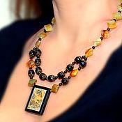Украшения handmade. Livemaster - original item Necklace of moss agate and green garnet