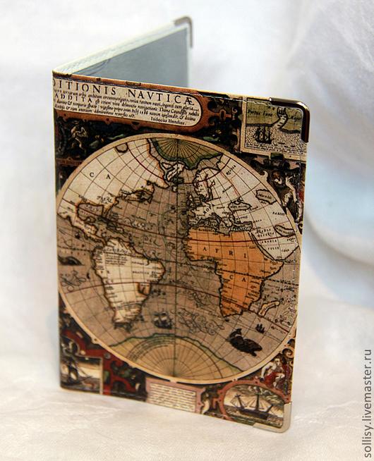 """Обложки ручной работы. Ярмарка Мастеров - ручная работа. Купить обложка """"старинная карта"""". Handmade. География, кожаная обложка, коричневая"""