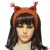 Аксессуары handmade. Livemaster - original item Headband with ears Squirrel, knitted hair red. Handmade.